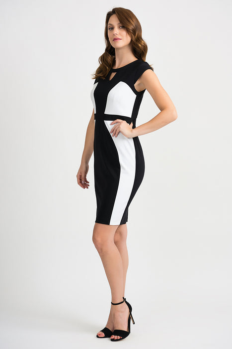 Joseph Ribkoff Black/Vanilla Color Block Cap Sleeve Sheath Dress 201156 NEW