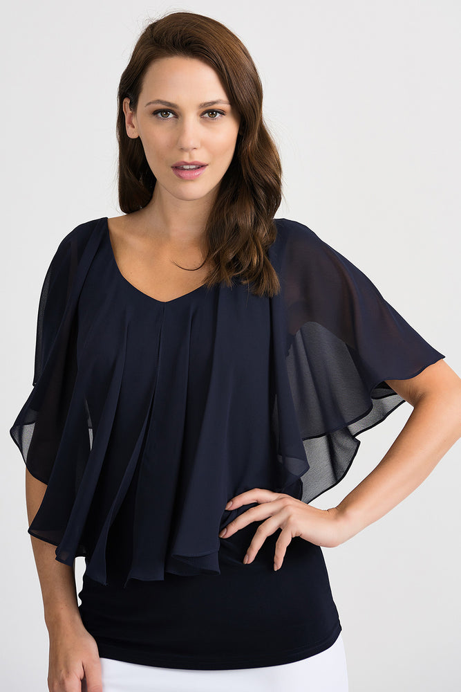 Joseph Ribkoff Style 201158 Midnight Blue Ruffled Sheer Overlay Cape Sleeve Blouse