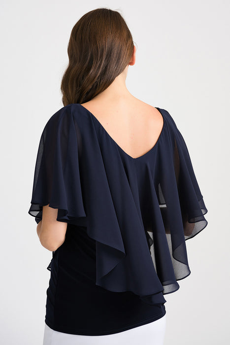 Joseph Ribkoff Midnight Blue Ruffled Sheer Overlay Cape Sleeve Blouse 201158 NEW