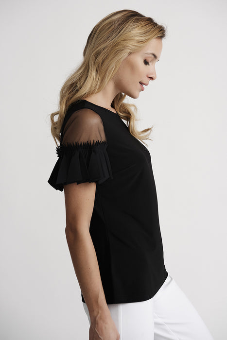 Joseph Ribkoff Black Boat Neck Sheer Inset Pleated Sleeve Tee 201174 NEW