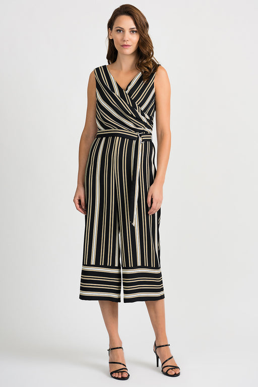 Joseph Ribkoff Style 201187 Black White Gold Striped Mock-Wrap Cropped Jumpsuit