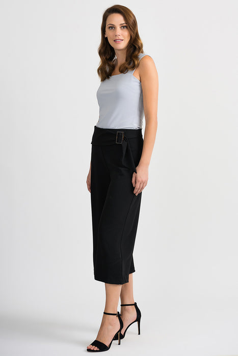 Joseph Ribkoff Black Belted Slip-On Wide-Leg Capri Pants 201201 NEW