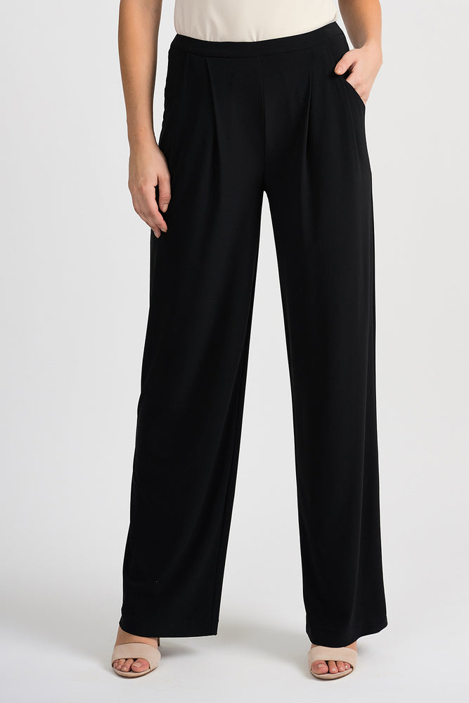 Joseph Ribkoff Style 201206 Black Pleated Front Slip-On Wide-Leg Pants