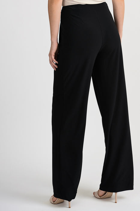 Joseph Ribkoff Black Pleated Front Slip-On Wide-Leg Pants 201206 NEW