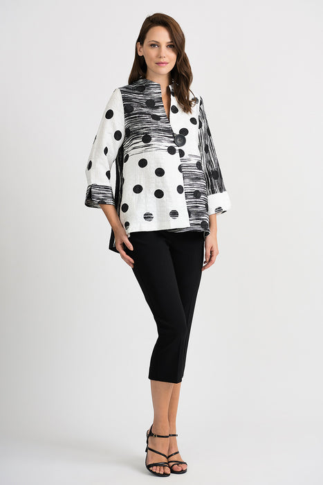 Joseph Ribkoff Vanilla/Black Polka Dot Textured Cover-Up Jacket 201208 NEW