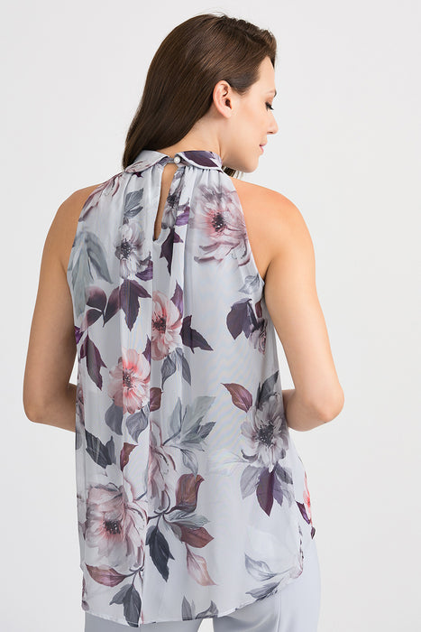 Joseph Ribkoff Grey/Multi Floral Print Halter Neck Sleeveless Blouse 201223 NEW