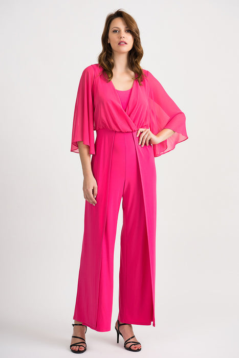 Joseph Ribkoff Style 201224 Hyper Pink Sheer Overlay Overlapping Wide Leg Jumpsuit