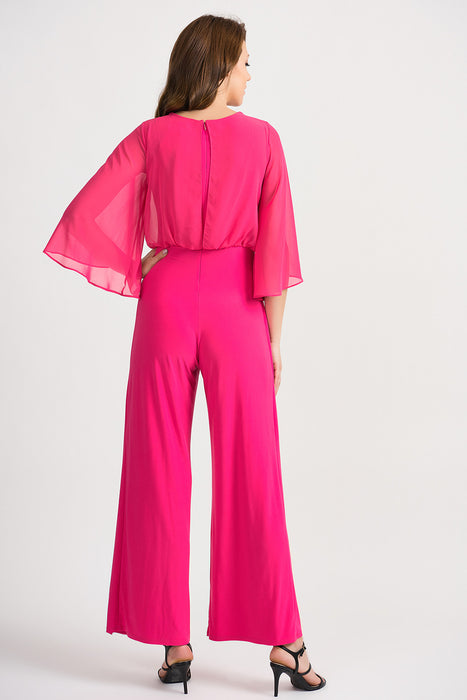 Joseph Ribkoff Hyper Pink Sheer Overlay Overlapping Wide Leg Jumpsuit 201224 NEW