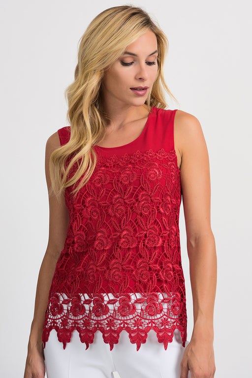 Joseph Ribkoff Style 201237 Lipstick Red Floral Lace Overlay Sleeveless Camisole