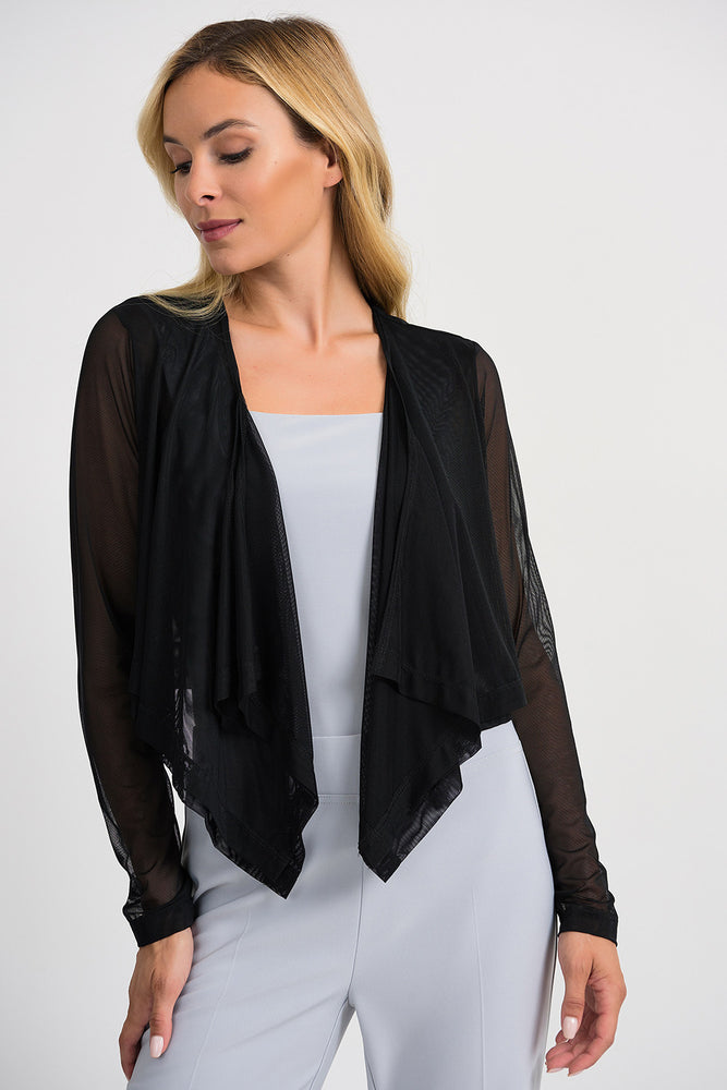 Joseph Ribkoff Style 201258 Black Sheer Layered Open Front Cropped Jacket