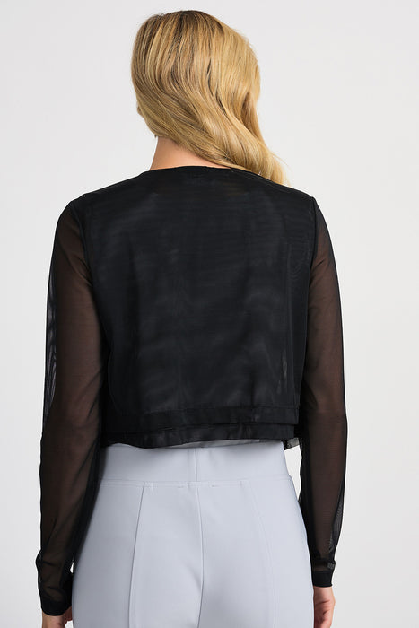 Joseph Ribkoff Black Sheer Layered Open Front Cropped Jacket 201258 NEW