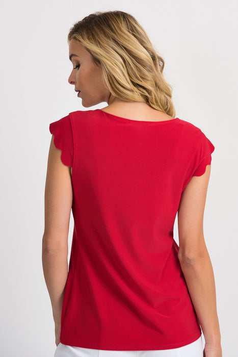 Joseph Ribkoff Lipstick Red Scoop Neck Scalloped Cap Sleeve Tee 201260 NEW