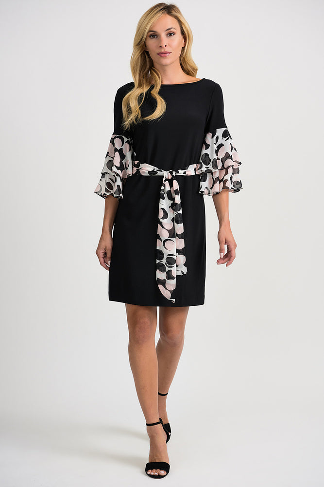 Joseph Ribkoff Style 201264 Vanilla Black Polka Dot Ruffle Sleeve Belted Shift Dress