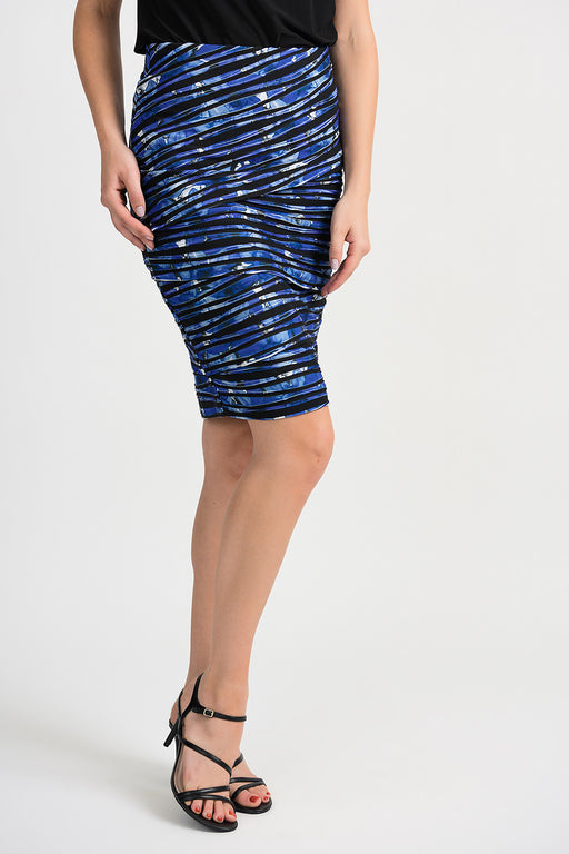 Joseph Ribkoff Style 201271 Black Blue Abstract Print Wavy Layered Pencil Skirt