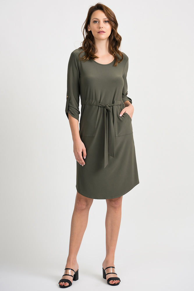Joseph Ribkoff Style 201274 Avocado 3/4 Sleeve Waist Tie Shift Dress