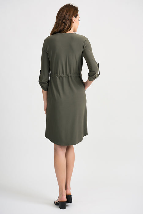 Joseph Ribkoff Avocado 3/4 Sleeve Waist Tie Shift Dress 201274 NEW
