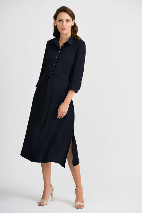 Joseph Ribkoff Style 201276 Midnight Blue Waist Sash Button-Down Midi Dress