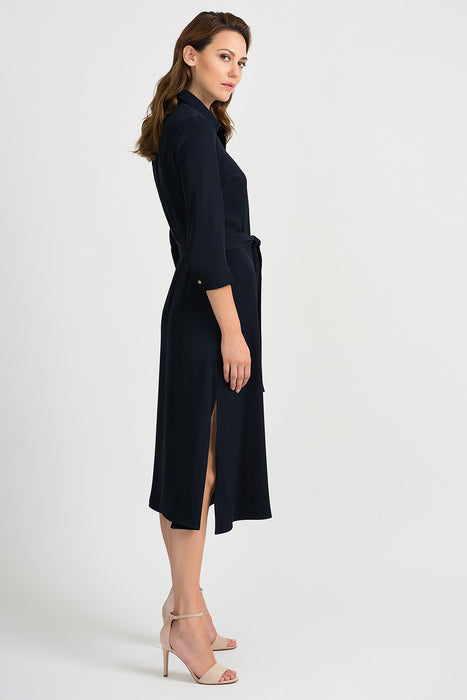 Joseph Ribkoff Midnight Blue Waist Sash Button-Down Midi Dress 201276 NEW