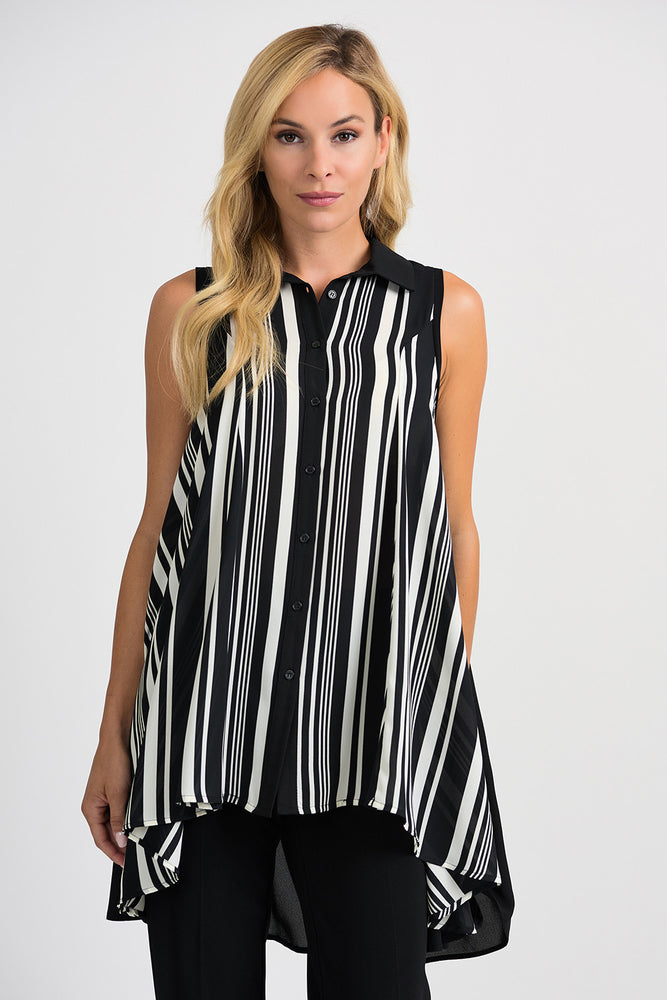 Joseph Ribkoff Style 201278 Black Vanilla Striped Sleeveless Button-Down Tunic Top