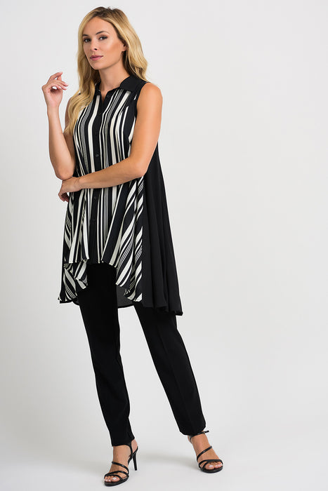 Joseph Ribkoff Black/Vanilla Striped Sleeveless Button-Down Tunic Top 201278 NEW