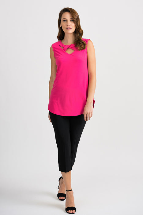 Joseph Ribkoff Hyper Pink Keyhole Neck Sleeveless Tunic Top 201284 NEW