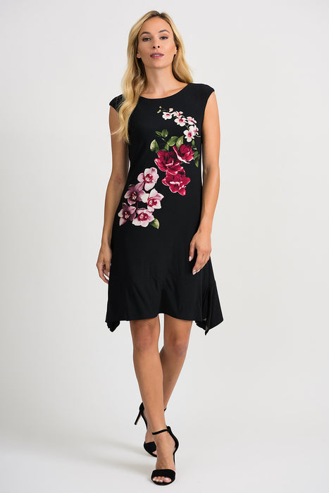 Joseph Ribkoff Style 201287 Black Multicolor Floral Print Asymmetric Hem Fit-And-Flare Dress