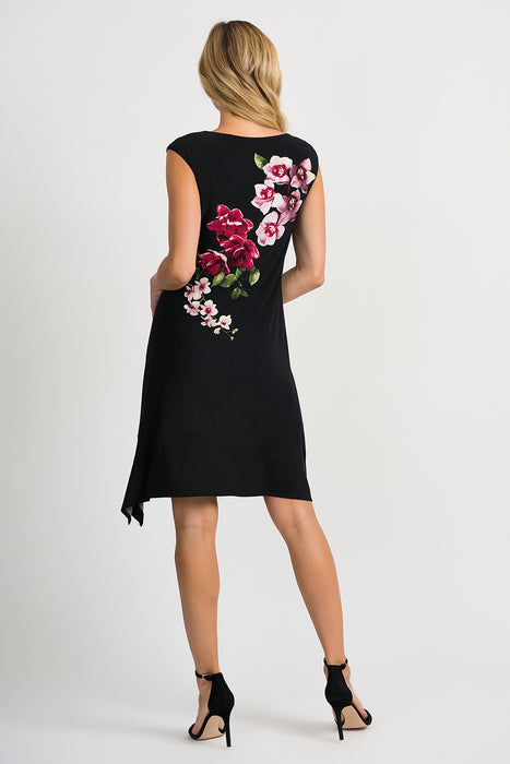 Joseph Ribkoff Black/Multi Floral Print Asymmetric Hem Fit-And-Flare Dress 201287 NEW