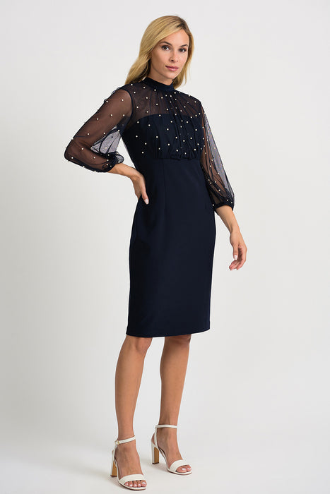 Joseph Ribkoff Style 201291 Midnight Blue Pearl Accent Sheer Yoke Sheath Dress
