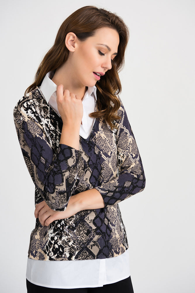 Joseph Ribkoff Style 201293 Multicolor Snakeskin Print Overlay 3/4 Sleeves Top
