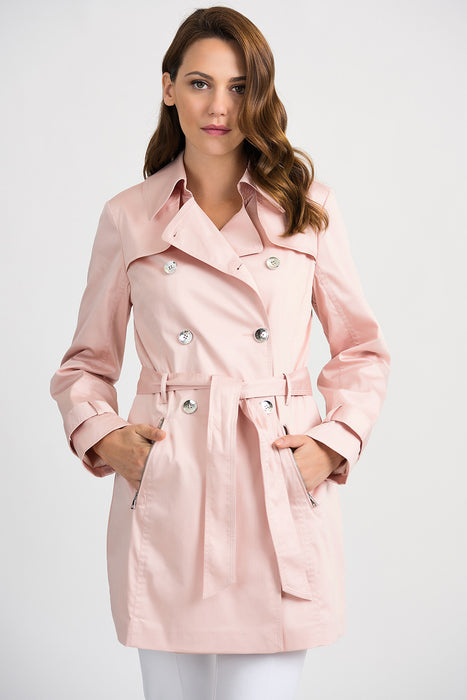 Joseph Ribkoff Style 201297 Blush Double-Breasted Belted Trench Coat