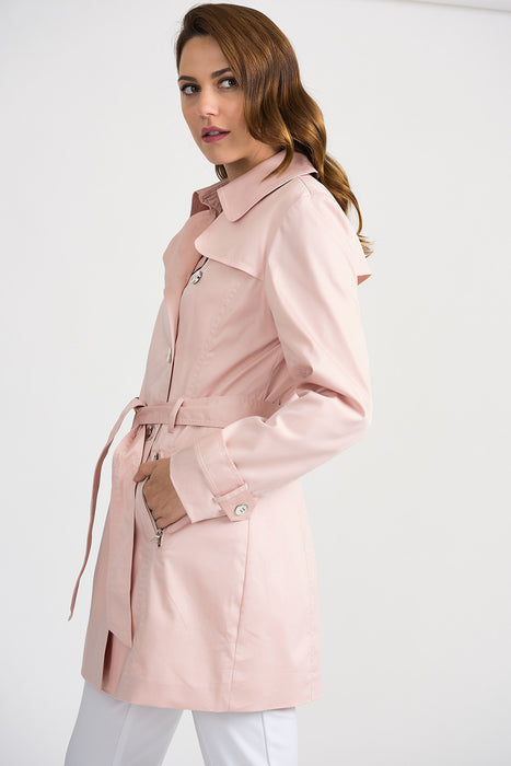 Joseph Ribkoff Blush Double-Breasted Belted Trench Coat 201297 NEW