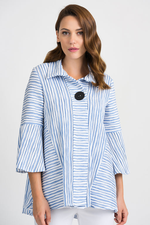 Joseph Ribkoff Style 201309 White/Blue Wavy Striped 3/4 Sleeve Cover-Up Jacket