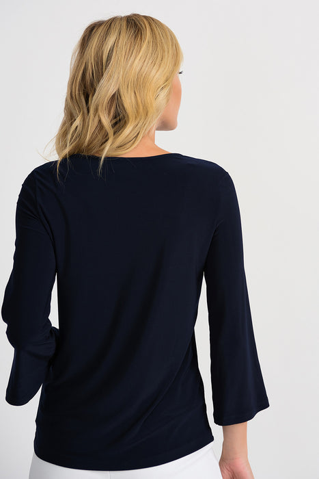 Joseph Ribkoff Midnight Blue Round Neck Buttoned 3/4 Flared Sleeve Tee 201324 NEW