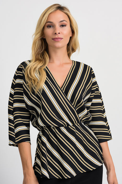 Joseph Ribkoff Style 201332 Black White Gold Striped 3/4 Sleeve Kimono Top