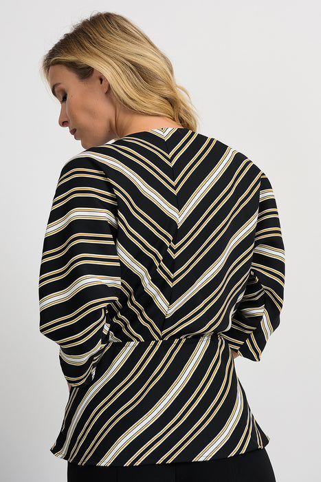 Joseph Ribkoff Black/White/Gold Striped 3/4 Sleeve Kimono Top 201332 NEW