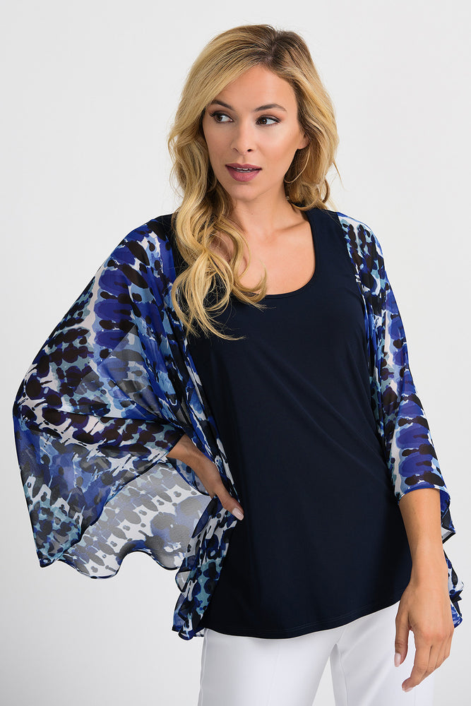 Joseph Ribkoff Style 201333 Blue Black Abstract Print Sheer Wide Winged Sleeve Blouse