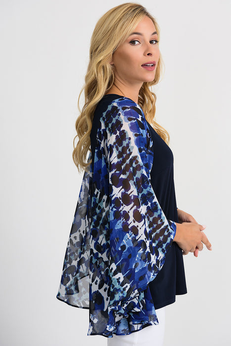 Joseph Ribkoff Blue/Black Abstract Print Sheer Wide Winged Sleeve Blouse 201333 NEW