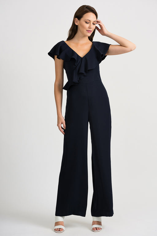 Joseph Ribkoff Style 201337 Midnight Blue V-Neck Ruffled Wide Leg Jumpsuit