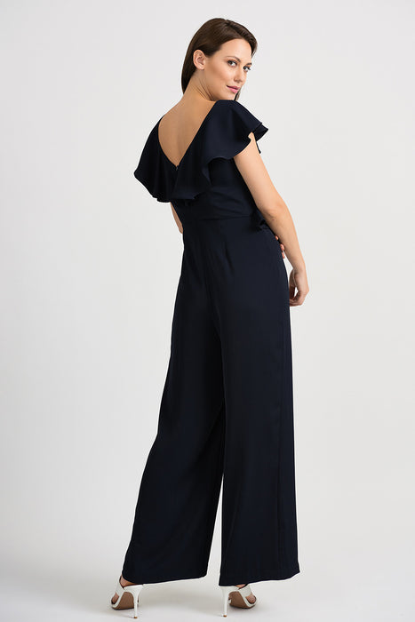 Joseph Ribkoff Midnight Blue V-Neck Ruffled Wide Leg Jumpsuit 201337 NEW