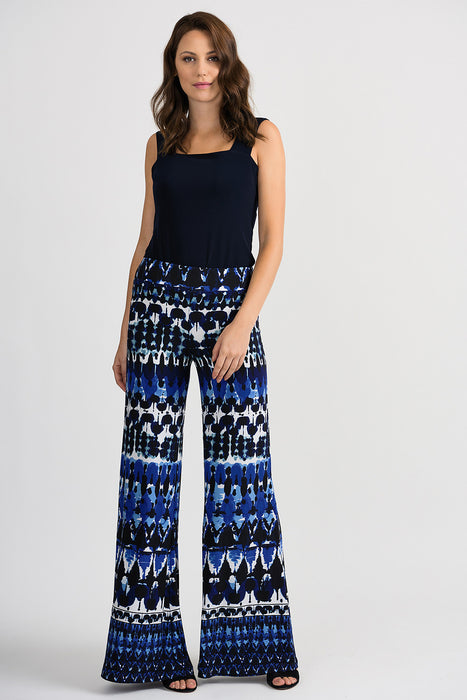 Joseph Ribkoff Blue/Black Abstract Print Slip-On Palazzo Pants 201357 NEW