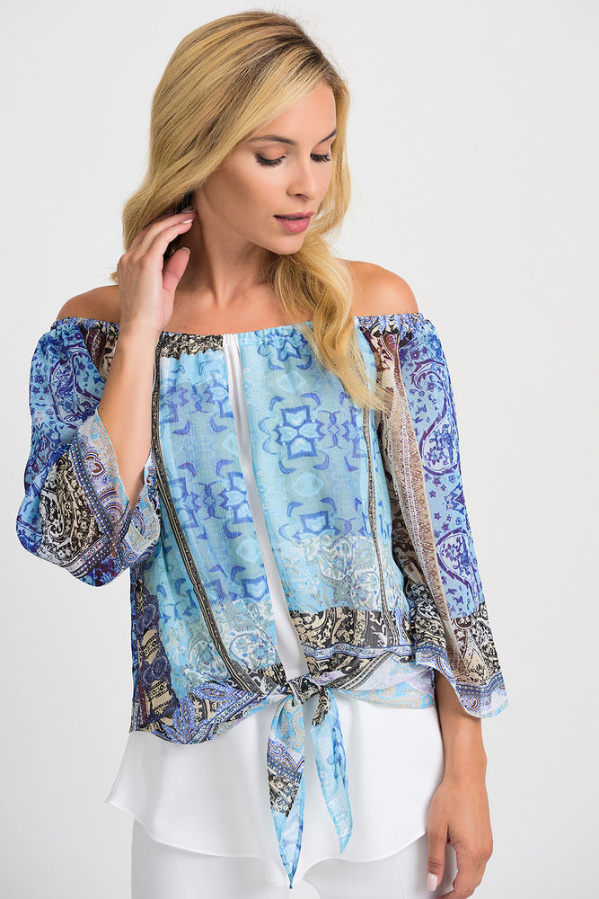 Joseph Ribkoff Style 201364 Blue Multicolor Off-Shoulder Layered Knot Front Blouse