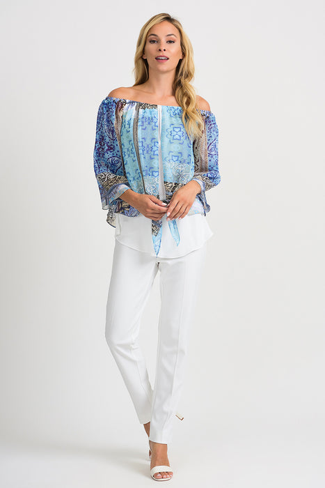 Joseph Ribkoff Blue/Multi Off-Shoulder Layered Knot Front Blouse 201364 NEW