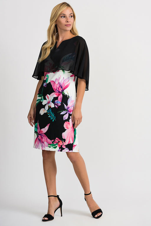 Joseph Ribkoff Style 201369 Black White Multicolor Floral Print Sheer Overlay Sheath Dress