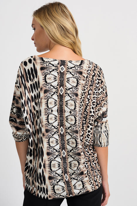 Joseph Ribkoff Multi Animal Print Round Neck Batwing Sleeve Top 201371 NEW