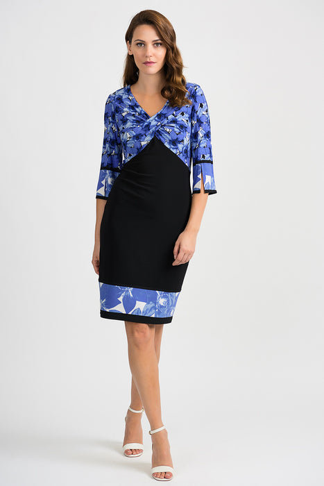 Joseph Ribkoff Style 201376 Black Blue Floral Print Ruched 3/4 Sleeve Sheath Dress