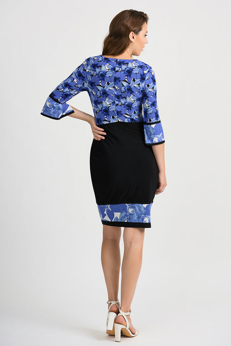Joseph Ribkoff Black/Blue Floral Print Ruched 3/4 Sleeve Sheath Dress 201376 NEW