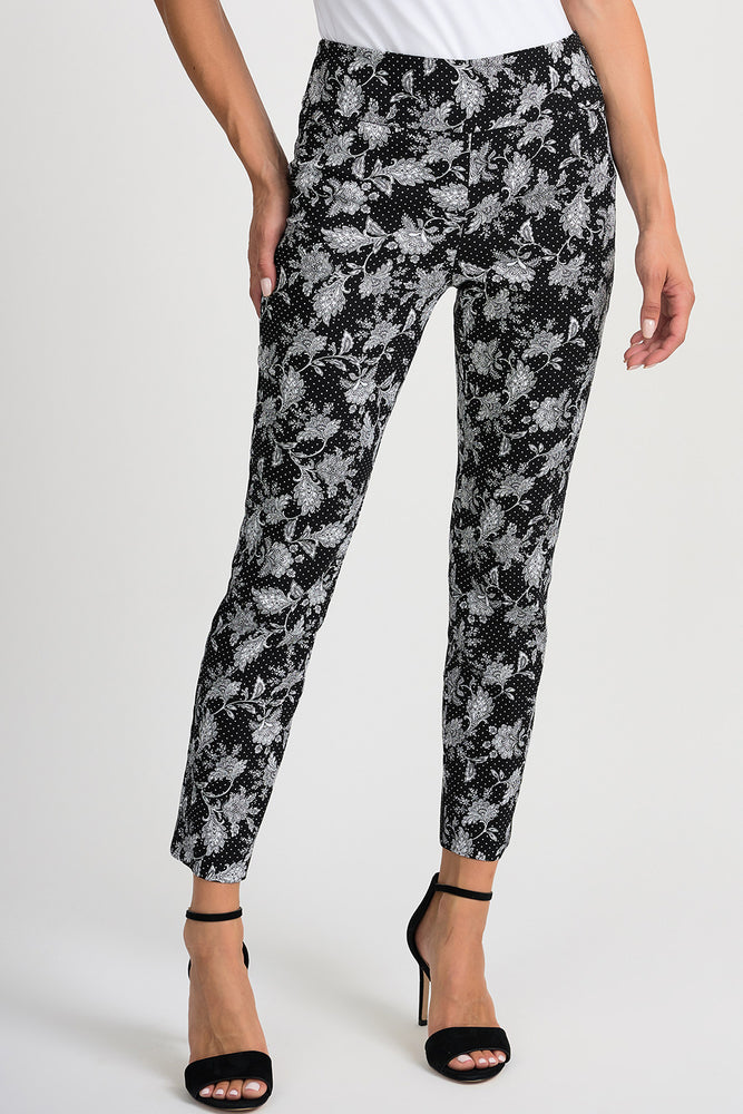 Joseph Ribkoff Style 201389 Black White Floral Polka Dot Slip-On Cropped Pants