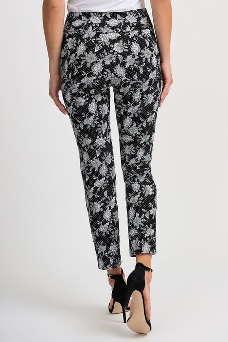 Joseph Ribkoff Black/White Floral Polka Dot Slip-On Cropped Pants 201389 NEW