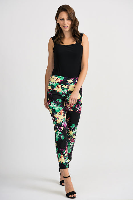 Joseph Ribkoff Black/Multi Floral Print Slip-On Cropped Pants 201390 NEW