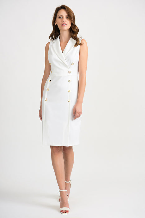 Joseph Ribkoff Style 201405 Vanilla Double-Breasted Accent Sleeveless Sheath Dress